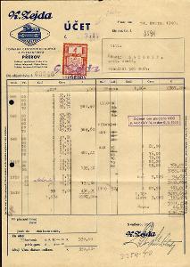 BuM, reklamní faktura K. Zejda Přerov, kolek s perfinem Z8/D 1940 !
