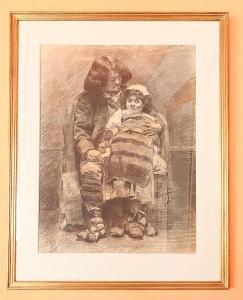 Otec s dcerou. Kresba uhlem 74 X 80,5 cm