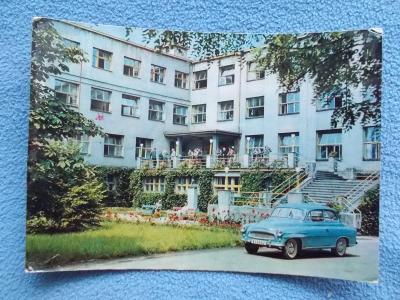 Karviná III. Darkov lázně modrý automobil Škoda Spartak