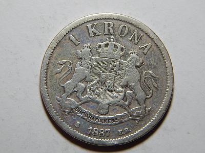 Švédsko 1 Krona 1887 E.B. RRR! jen 58.000 kusů RAR! VF č21228
