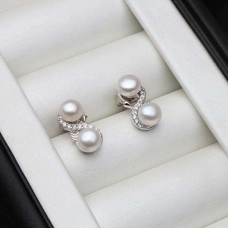 Ag 925 stříbrné náušnice  s říční perlou    - Šperky