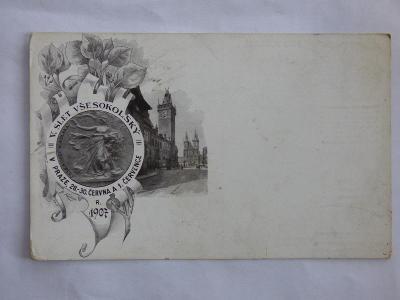 Slet sokolů 1907-Praha, mf, neprošlá