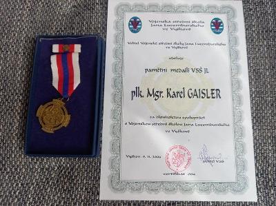 AČR ORIGINÁL Pamětní odznak VSŠ Jana Lucemburského + dekret č. 84  RRR