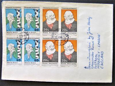 Obálka dopisu do Anglie, hezké čtyřbloky, DV 120Kč(164)