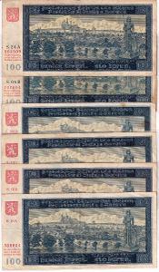 6x 100 Korun 1940 (Protektorát) -NEPERFOROVANÉ - KOMPLET VŠECHNY SÉRIE