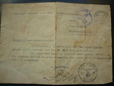 IWW WAR VÁLKA KRIEG RU NEUNBURG VORM WALD - 1945 ROTZ SCHWANDORF !! RR