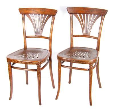 2x secesní židle Thonet Nr.221, 1900ca