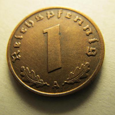 Německo, Deutsches Reich , 1 Reichspfennig z roku 1937 A -  Bronz