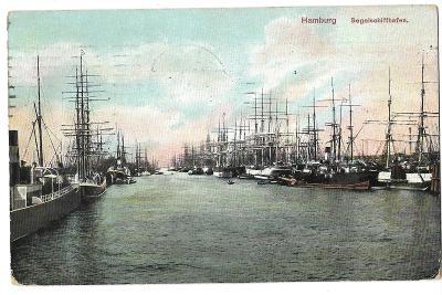 Pohlednice, přístav, Hamburg, Německo, MF, 102/55