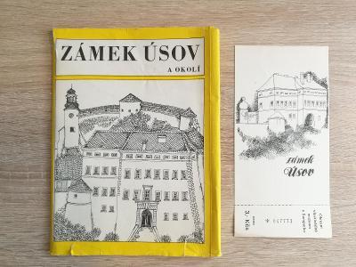 Stará turistická publikace a vstupenka Zámek Úsov