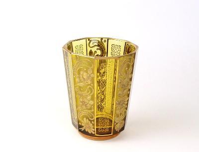 Stará skleněná váza zlacená
