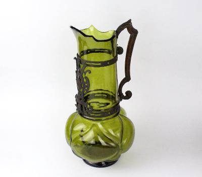 Starožitný secesní džbán zelené sklo montáž