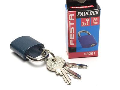 Malý značkový zámek FESTA, visací, nový, 3x klíč, nový