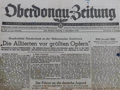 Oberdonau-Zeitung. Origo dobové válečné noviny. 5.9.1943. K12