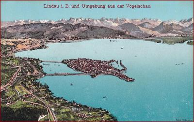 Lindau (Bodensee) * město, jezero, hory, Alpy * Německo * Z1677