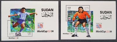 Sudan MS fotbal 1994, 2x aršík, kat. cena 13Euro