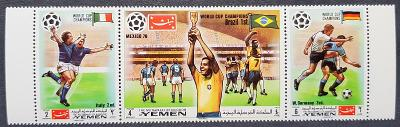 Jemen Kingdom 1970 MS fotbal, soutisk 3 známek