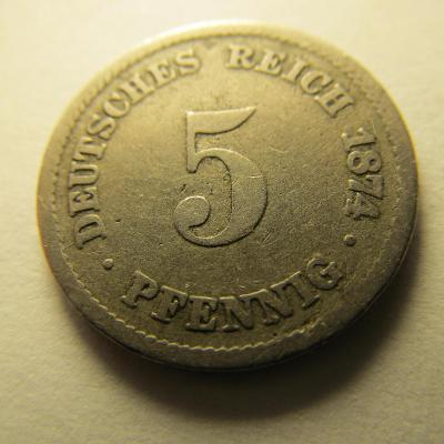Německo, Kaiser Reich , 5 pfennig z roku 1874 A