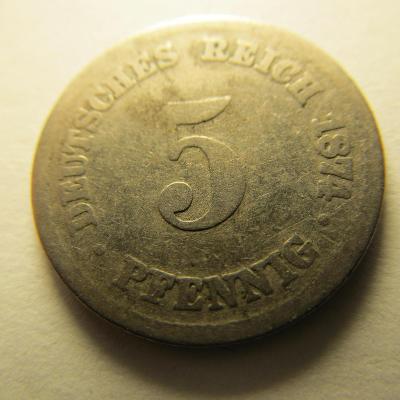 Německo, Kaiser Reich , 5 pfennig z roku 1874 C