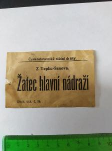 Československé státní dráhy - průvodka Teplice-Žatec