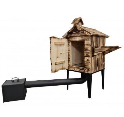 Jednokomorová dřevěná udírna s policí 0-9-2 pálené dřevo