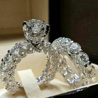 Prsten postříbřený s kamenem white sapphire 2v1 vel.65 a 63