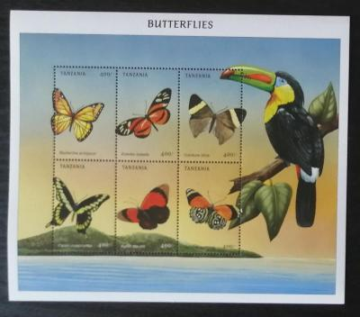 Tanzánie 1999 Mi.3898-3 10€ Motýli a hmyz Tanzánie