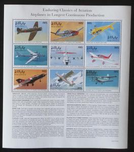 Maledivy 1998 Mi.3059-7 11€ Letadla a stíhačky světa, doprava