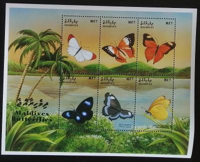 Maledivy 1999 Mi.3231-6 10€ Motýli a hmyz Malediv