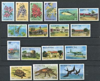 Barbuda 1974-75 Různé motivy TOP SET Mi# 185-201 Kat 34€ 0162