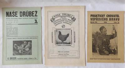 Tři staré časopisy o chovatelství drůbeže a prasátek