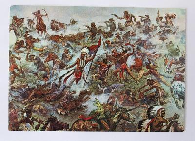 Bitva u Little Big Hornu, pohlednice- obraz v muzeu Karla Maye - DDR