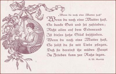 Žena * matka, děti, křeslo, báseň, gratulační * M6473