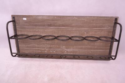 Nástěnný kovovo/dřevěný stojan na víno (6819M)
