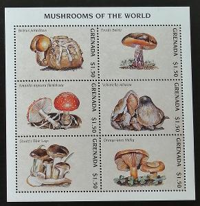 Grenada 1997 Mi.3590-5 10€ Houby a flora lesů, mykologie