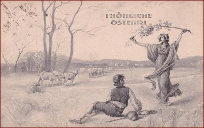 Velikonoce * žena, muž, ovce, pastva, jarní motiv * M4124