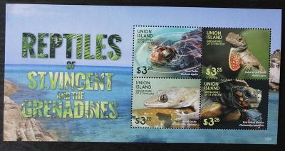 Union Island 2015 Mi.810-3 11€ Plazi ostrova, želvy a ještěři