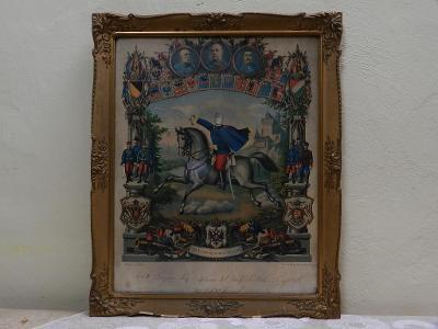 Starý obraz Franc Josef Vojenský motiv dobový tisk