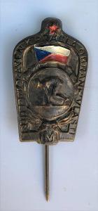 Starý odznak / vyznamenání RUDÁ HVĚZDA + vlajka, práce a obrana vlasti