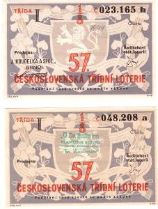 Třídní loterie I třída 57  různé serie