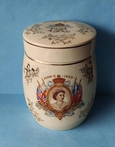 DǑZA doza s víčkem keramika Korunovace královny Alžběty II Anglie znač