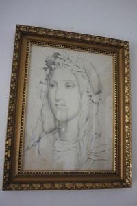obraz-žena sign.kresba