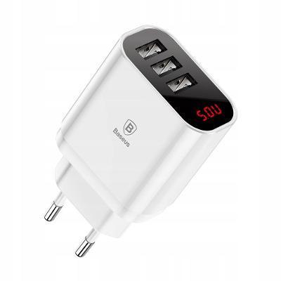 BASEUS MIRROR LAKE 3xUSB 3.4A LED, síťová nabíječka, rychlé nabíjení