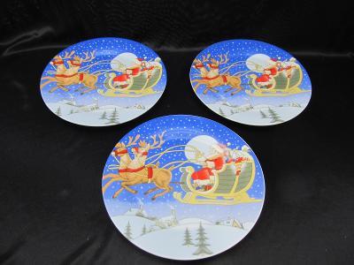Vánoční talíř sněhulák Ježíšek zima cca 19 cm  3 ks