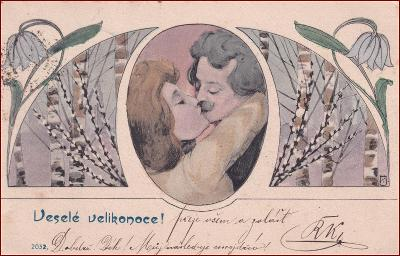 Velikonoce * žena, muž, láska, secesní motiv, kolorovaná * M1789