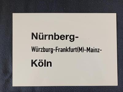 Směrová cedule DB - D (Nürnberg - Köln)