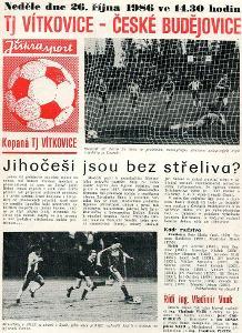 TJ Vítkovice - Dynamo České Budějovice - 1986 - program fotbal