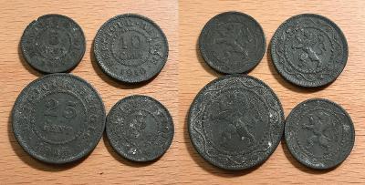 5 Cent 1915, 1916 + 10 Cent 1916 + 25 Cent 1915 (Belgie)
