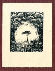 František Kobliha: Ex libris F. Kozák (palma)