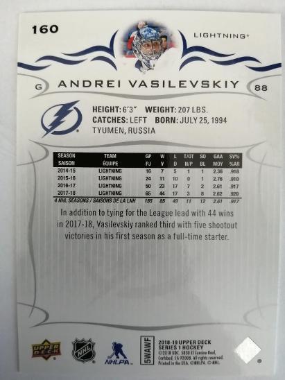 Andrei Vasilevskiy #160 Tampa Bay Lightnings 2018/2019 Upper Deck - Sportovní sbírky